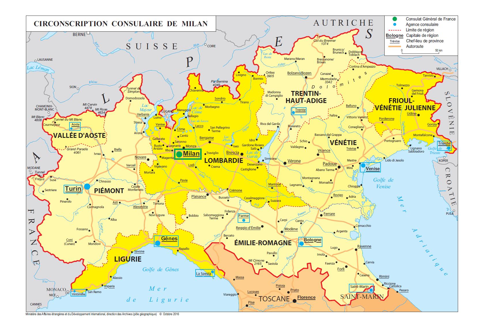 Carte Italie Du Nord Lombardie.Trouvez Votre Circonscription Consulaire La France En Italie